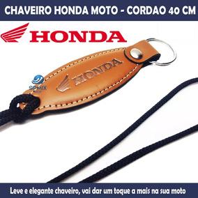 Chaveiro Honda Moto Cordão E Couro Moto Pescoço - Novo