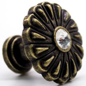 Puxador De Porta Gaveta Em Bronze Com Cristal 3cm Parafuso