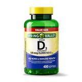 Vitamina D3 5.000iu - 400 Softgels Spring Valley Lacrado