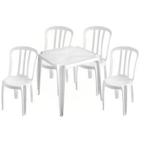 Conjunto Mesa C/4 Cadeiras Brancas Sup182kg Plástico Emp