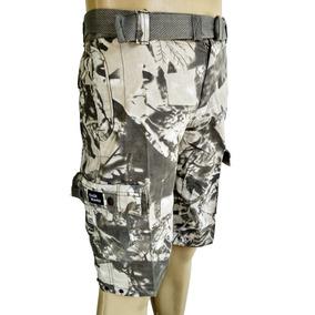 Bermuda Sarja Masculina Bolso Cargo Tática Camuflada Militar