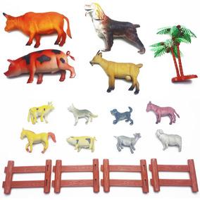 Kit 12 Animal Borracha Fazenda Vaca Bode Jegue Porco Cerca