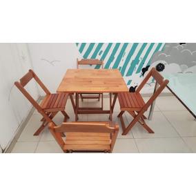 Mesa Madeira Tratada 70 X 70 Com 4 Cadeiras Dobráveis