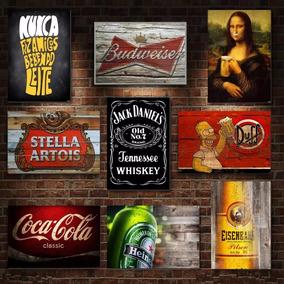 Kit Com 13 Placas Decorativas Em Mdf - Bebidas Bar Retrô