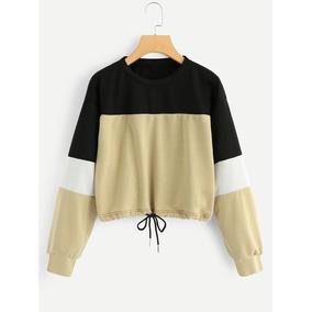 Tsuki Moda Japonesa: Blusas Mujer Crop Top Bloques Cintas