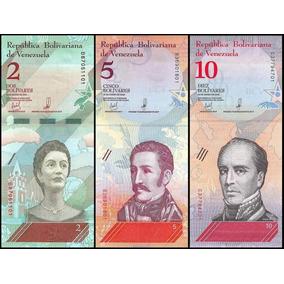 Venezuela 2+5+10 Bolívares Soberano 2018 3 Cédulas * C O L *