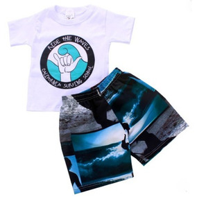 Conjunto Masculino Camiseta + Bermuda Tactel Estampada T 2