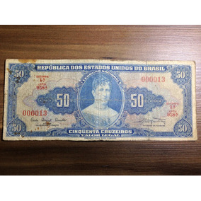 Cédula 50 Cruzeiros N°13 Nota Da Sorte 1° Est - 1° S - Mbc.