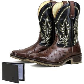 Bota Couro De Avestruz Azul Bico Quadrado Texana - Calçados 1ba1e762a5b