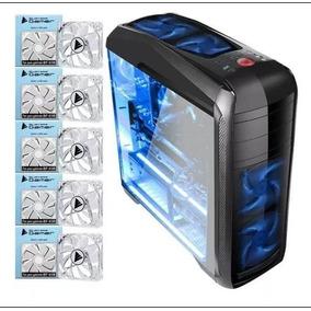 Kit Gabinete Bluecase Gamer Bg-024 + 5 Fans Azul