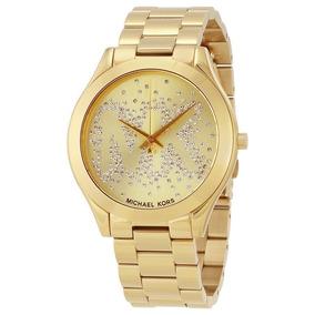 c8a5e9c6d7b18 Relógio Michael Kors Slim Runway Azul E Dourado 42mm Mk2285 ...