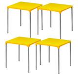 Mesa Plástica Amarela Pés Em Alumínio Jasmim Planmar - 4 Uni