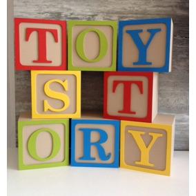 Cubos Mdf De 10cm Con Marco Y Letra Toy Story Elije La Letra