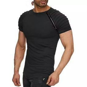 Camiseta Masculina Preta Detalhe Zipper Camisa Algodao.