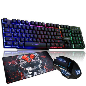 Teclado Luz Fortnite + Mouse Gamer + Mouse Pad Grande Jogos