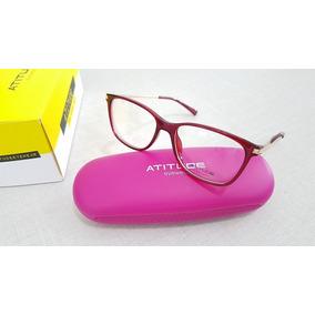 fe9a5bcb4f4f7 Armação Oculos De Grau Masculino Atitude - Óculos Vermelho no ...