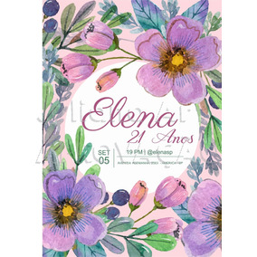 Arte Digital Para Convites Floral Aniversário Envio Gratis