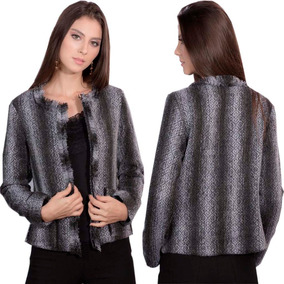 4741296a9b Blazer Tweed Com Bolsos Casaco Feminino Casaquinho