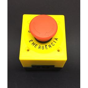 Botoeira Plástica 22 Mm + Botão De Emergência + Plaqueta