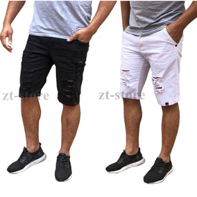Kit 2 Bermudas Shorts Jeans Rasgada Desfiada Destoyed