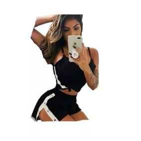 Short Feminino Ilhos Botão Lateral Cintura Alta Fenda Moda