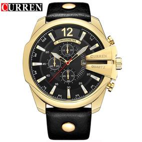 Relógio Curren Masculino Dourado Preto Couro Importado 8176