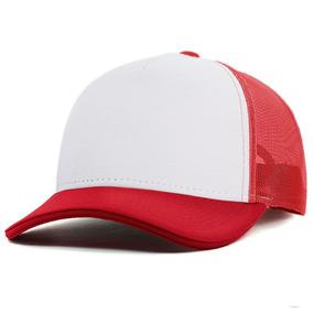 01d89f930c8 Boné Branco Vermelho Anth Co. Curva Aberto Redinha Trucker