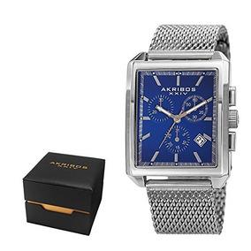 Akribos Xxiv Mens Casual Rectangular Quartz Watch - Blue Mat