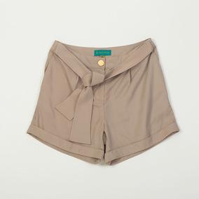 Short De Dama Con Lazo Color Beige Spbell02/2 Tienda Oficial