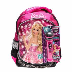 Mochila Barbie Rock Royals Tam G Original Rosa Microfone