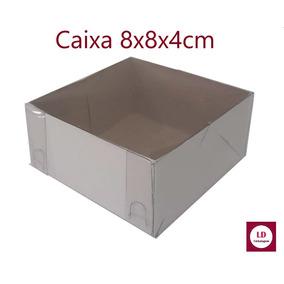 25 Caixas De Acetato E Papel 8x8x4 Cm Caixinhas Lembracinhas