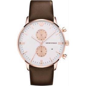 Relógio Emporio Armani Ar0398 Rose Pulseira Couro Com Caixa