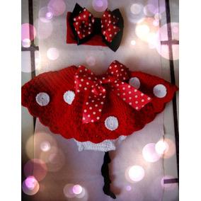 Disfraz De Minnie Mouse Bebé Tejido Tiara Sesión De Fotos