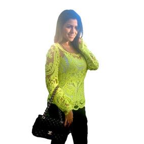 Blusa Bata De Renda Guipir Verde Claro Ref 120
