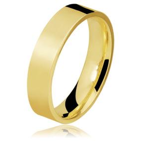 Par De Aliança Em Ouro 18k Com 4mm 4grs Reta Casamento