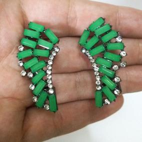 Brinco Ear Cuff Feminino Bijuteria Fina Verde