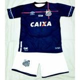 Conjunto Infantil Camiseta short Futebol Santos+meião f15fa57e11c0a