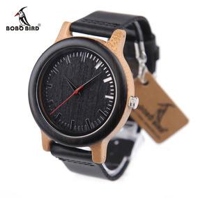 Relógio Unissex Bambu Madeira Black M13 Bobo Bird