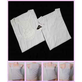 Set De 2 Camisetas Blusa Dama Licra Encaje Tallas S M L