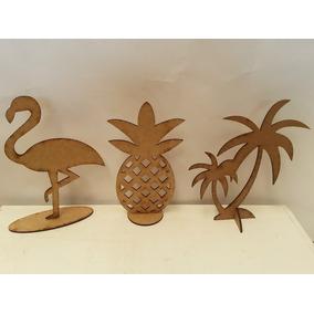 b156ce67bfac3 30 Peças Coqueiro Flamingo Abacaxi 20cm Mesa Havai Mdf Cru