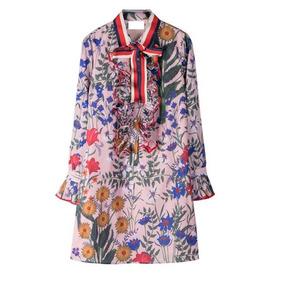 Vestido Casual Gucci Floral Con Listón Corbatín Envío Grats