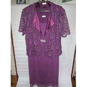 Vestido Festa Longo Para Senhora Tamanho Gg Lilás Com Casaco