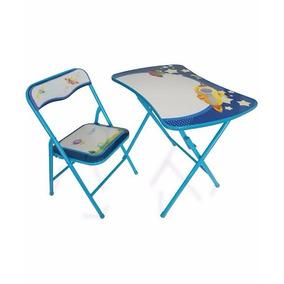 Conjunto Mesa C/ 1 Cadeira Dobrável Infantil Azul Desenho