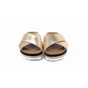 Rasteira Birken Dourada Com Detalhe Em Jeans