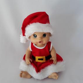 Vestido + Calcinha + Gorro Baby Alive Roupa Natal Mamãe Noel