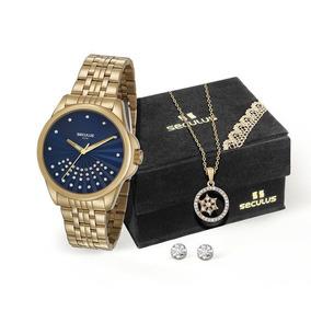 Relógio Seculus Feminino 20599lpsvds2k1 + Colar E Brincos
