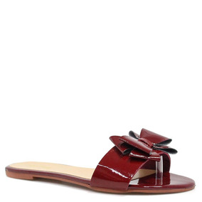 Rasteira Zariff Shoes Verniz Laço Vermelho | Zariff
