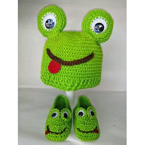 Zapatos Tejidos Con Gorra Para Bebé Rana