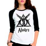 Camiseta Harry Potter Reliquias Da Morte Raglan Babylook 3/4