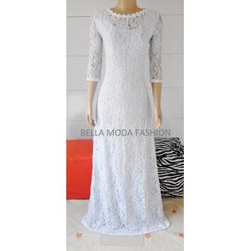 Vestido Longo Renda Festa Madrinha Decote Canoa - Plus Size